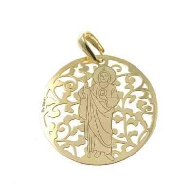 Medalla San Judas Tadeo en plata de ley Chapada 35mm MJT003D