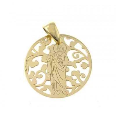 Medalla San Judas Tadeo en plata de ley Chapada 25mm MJT005D