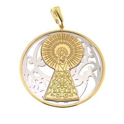 Medalla Virgen Pilar en Plata de Ley  bicolor.  40mm MP008B
