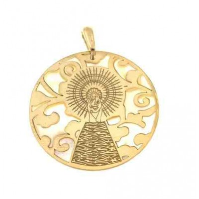 Medalla Virgen Pilar en Plata de Ley con baño de oro y nacar. 35mm MP003ND