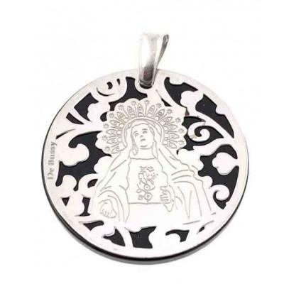 Medalla Virgen de Amargura plata y onix 25mm MAG005OP