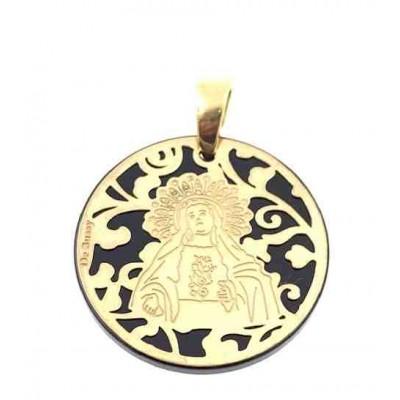 Medalla Virgen de Amargura plata chapada y onix 25mm MAG005OD