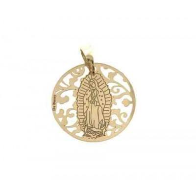Medalla Virgen de Guadalupe (Mexico) en Plata de Ley con baño de oro. 25mm MGP005D