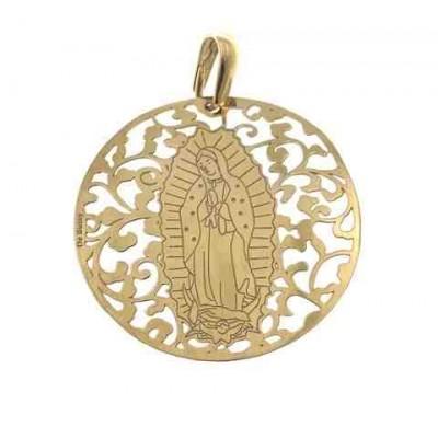 Medalla Virgen de Guadalupe (Mexico) en Plata de Ley con baño de oro. 40mm MGP008D