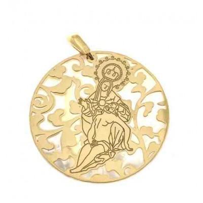 Medalla Virgen Caridad Plata Chapada en Oro 40 mm MCR008ND
