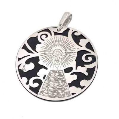 Medalla Virgen del Pilar plata de ley onix 35mm MP003OP