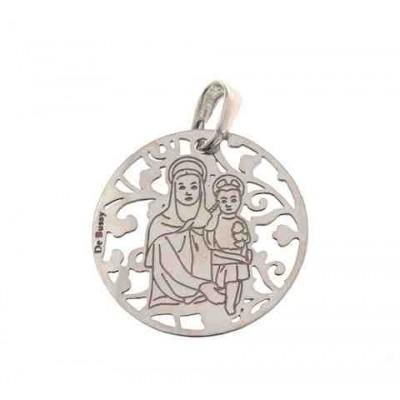 Medalla Madre del Amor Hermoso en Plata de Ley 25mm MAH005P