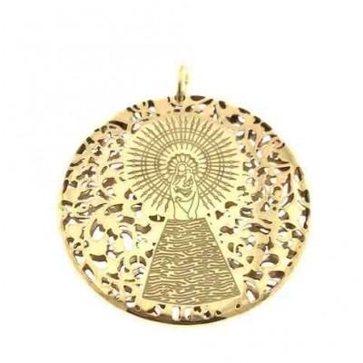 Medalla Virgen Pilar en Plata de Ley con baño de oro 40mm MP403DD