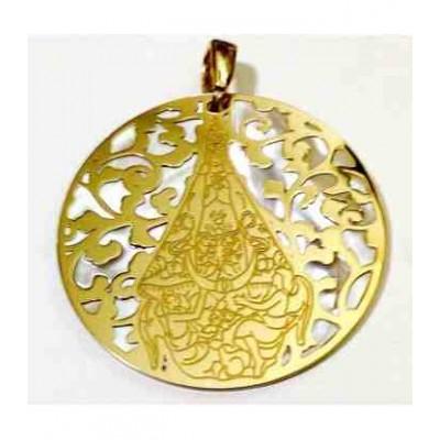 Medalla Virgen del Castillo de Yecla plata chapada en oro 40mm MCLL008D