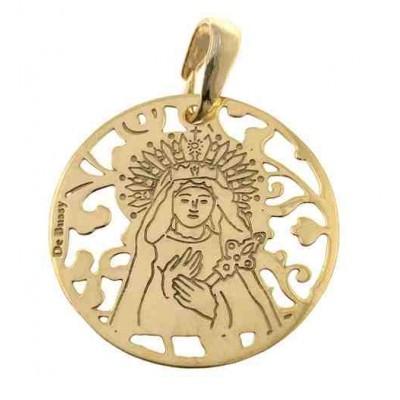 Medalla Virgen de los Dolores en plata de ley chapada 25mm MDL005D