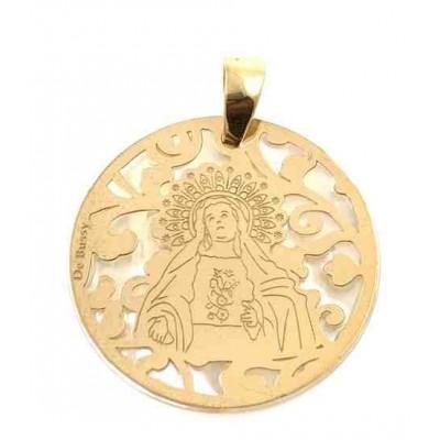 Medalla Virgen de Amargura plata chapada y nacar 25mm MAG005ND