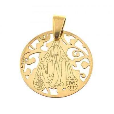 Medalla V. Milagrosa plata de ley chapada y diamante 20 mm MMI005DBT