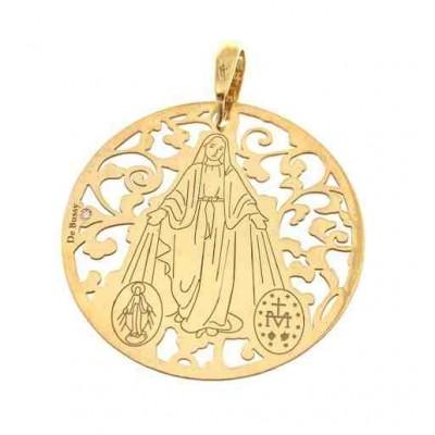 Medalla V. Milagrosa plata de ley chapada  y diamante 35 mm MMI003DBT