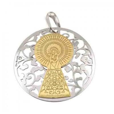 Medalla Virgen Pilar en Plata de Ley  cubierta de oro de 18kt y diamante 35mm MP003BBT