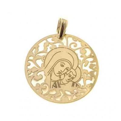 Medalla Virgen del Camino en plata de ley Chapado con Nacar 35mm MC003ND
