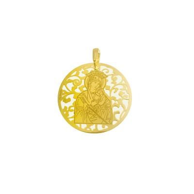Medalla Virgen del Perpetuo Socorro plata chapada 35mm MSC003D