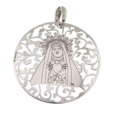 Medalla Virgen del Calvario en plata de ley 40mm MCV008P