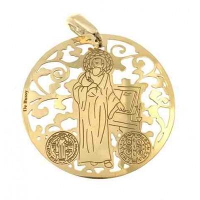 Medalla San Benito en plata de ley cubierta de oro de 18kt 35 mm MSB003D