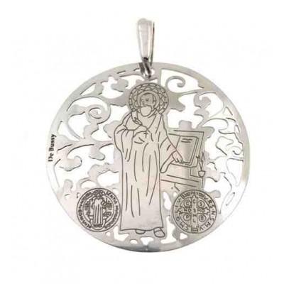 Medalla San Benito en plata de ley 35 mm MSB003P
