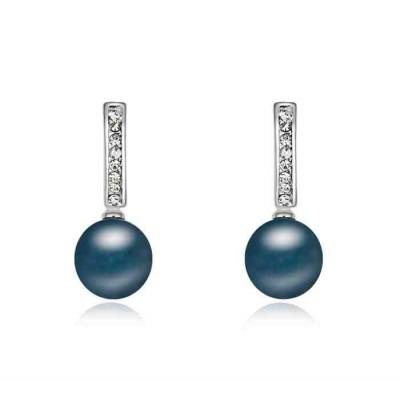 Pendientes Chapado con cristal Austriaco y perla PE1391811
