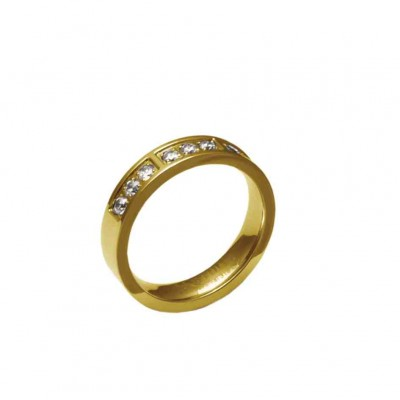ANILLO ACERO 316 L, 9 CIRCONITAS BLANCAS, IP GOLD R55501/GBL.13