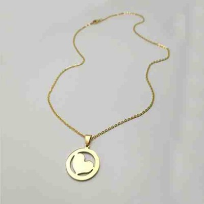 COLLAR SS 316 L, IP GOLD CORAZON CERCO N11943/GOL.00
