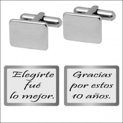 GEMELOS ACERO 316 L, RECTANGULAR 15 mm, aniversario G10201/SBO.50