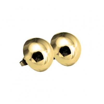 PENDIENTE MEDIA BOLA ACERO 316 L, IP GOLD, 12 mm E10130/GOL.12