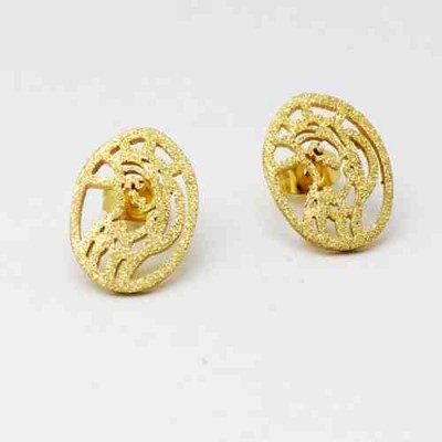 PENDIENTES ACERO 316 L, VIRGEN DIAMANTADO, IP GOLD E11933/GDO.00