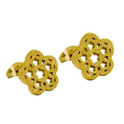 PENDIENTES SS 316 L, DIAMANTADO, IP GOLD E11934/GDO.00