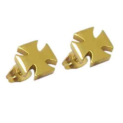 PENDIENTES SS 316 L, IP GOLD, CRUZ TEMPLE E11961/GOL.00