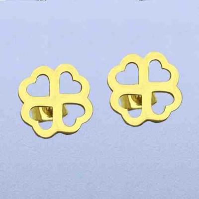 PENDIENTES SS 316 L, TREBOL DE CORAZONES IP GOLD E14983/GOL.00