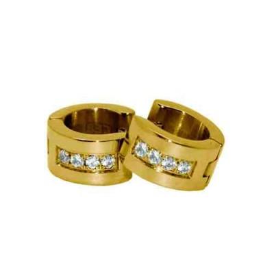 PENDIENTE ACERO 316 L, 4 CIRCON BLANCA, IP GOLD E50501/GBL.00