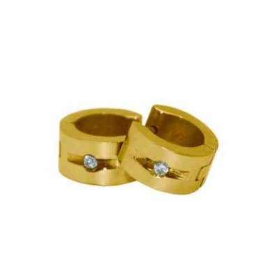 PENDIENTE ACERO 316 L, CIRCON BLANCA, IP GOLD E50584/GBL.00