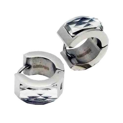 PENDIENTES SS 316L, FACET GLASS BLANCO E50600/SBL.00