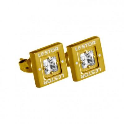 PENDIENTE ACERO 316 L, CIRCON BLANCA, IP GOLD E55593/GBL.00
