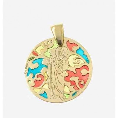 Medalla San Judas Tadeo en plata de ley Chapada 25mm MJT005ED