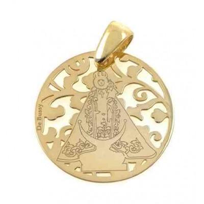 Medalla Virgen Fuensanta en Plata de Ley cubierta por baño de Oro. 25mm MF005D