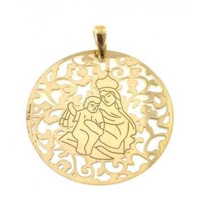 Medalla Virgen del Carmen nacar y plata chapada en oro 40mm MCM008ND