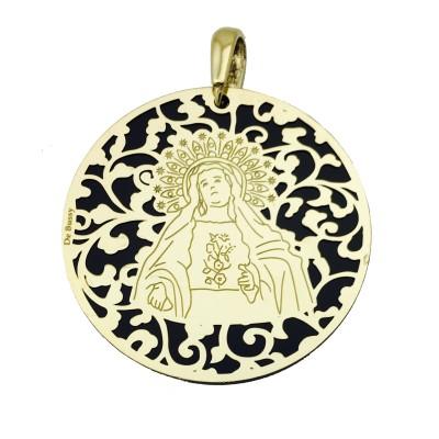 Medalla Virgen de Amargura plata chapada y onix 40mm MAG008OD