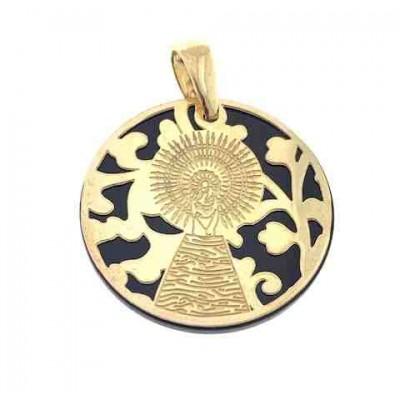 Medalla Virgen del Pilar plata de ley y onix 25mm MP005OD
