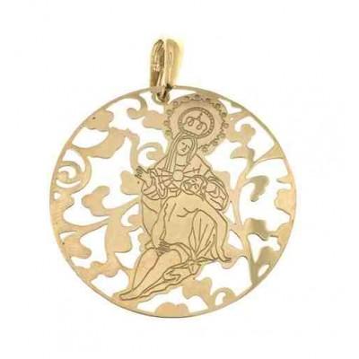 Medalla Virgen Caridad Plata Chapada en Oro 40 mmMCR008D