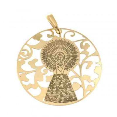 Medalla Virgen Pilar en Plata de Ley con baño de oro 40mm MP008D