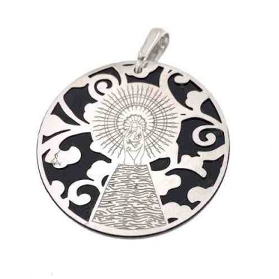 Medalla Virgen del Pilar plata de ley onix 25mm MP005OP