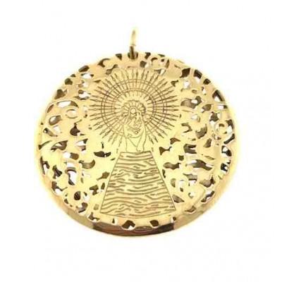 Medalla Virgen Pilar en Plata de Ley con baño de oro 30mm MP303DD