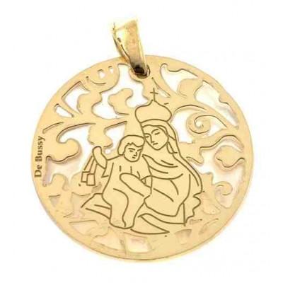 Medalla Virgen del Carmen nacar y plata chapada en oro 25mm MCM005ND