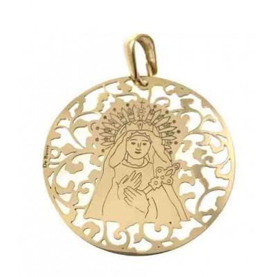 Medalla Virgen de los Dolores en plata de ley chapada 40mm MDL008D