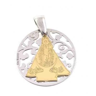 Medalla Virgen Fuensanta en plata de ley y diamante incrustado 25mm MF005BBT