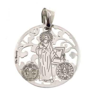 Medalla San Benito en plata de ley 25 mm MSB005P
