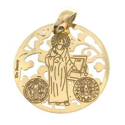 Medalla San Benito en plata de ley cubierta de oro de 18kt 25 mm MSB005D